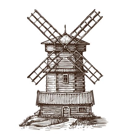 Windmill, wooden old mill sketch. Vintage vector illustration Ilustração Vetorial