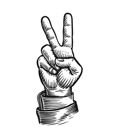 Hand gesture of victory or peace. Success symbol. Sketch vintage vector