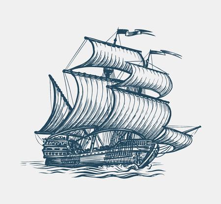 voilier d'époque. notion de marin. illustration vectorielle de croquis