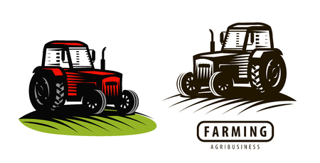 Farm tractor logo or label. Agriculture, farming, agribusiness symbol.