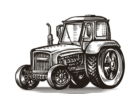Farm tractor, sketch Agriculture, farming, agribusiness concept Vintage vector Illustration