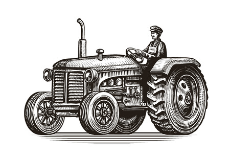 retro farm tractor, sketch. vintage vector illustration isolated on white background