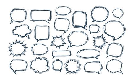 Set of comic speech bubbles. Doodle vector illustration