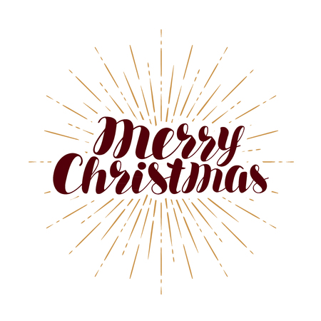 Merry Christmas, greeting card. Xmas typography. Handwritten lettering vector isolated on white background
