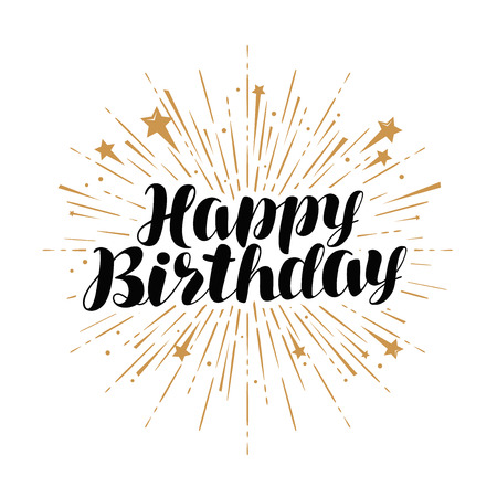 happy birthday, greeting card. Handwritten lettering vector