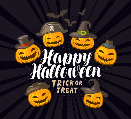 Happy Halloween, banner or greeting card. Holiday banner. Cartoon vector illustration