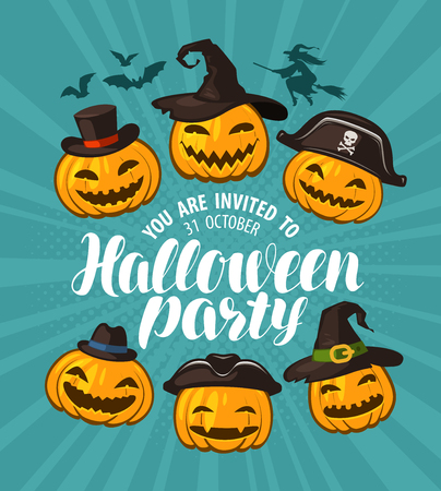 Halloween party, invitation. holiday banner cartoon vector