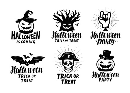 Halloween, set of labels or icons. Holiday symbol.