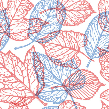 Floral pattern. Decorative leaves, nature concept. Seamless background vector illustration