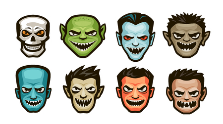 Funny monsters set. Halloween concept. Cartoon vector illustration Banque d'images