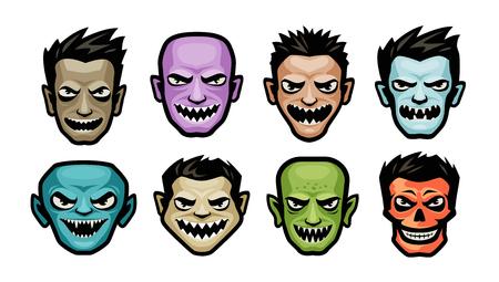 Ensemble de monstres. Notion d'Halloween. Illustration vectorielle de dessin animé
