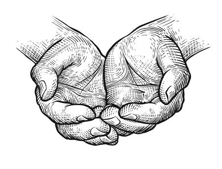 Schalenförmige Hände, Skizze der verschränkten Arme Vintage-Vektor-Illustration