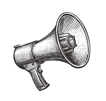Megaphone, bullhorn sketch. Stock Photo