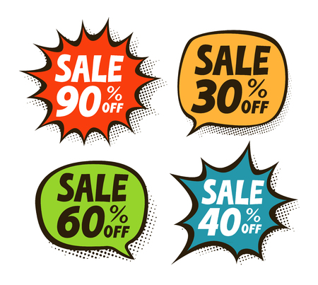 Sale, label set. Business, shopping, mall symbol. Vector illustration 写真素材