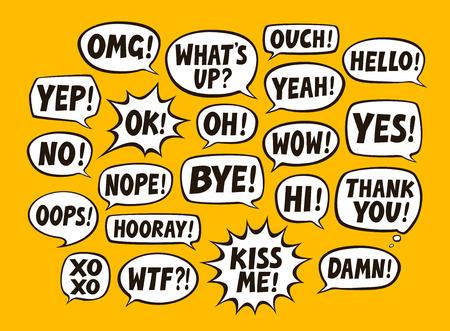 Set of comic speech bubbles. Chat, communication concept. 矢量图像
