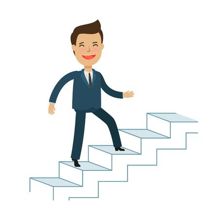 Man is climbing career ladder. Business concept.