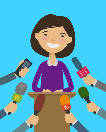Public speaker, interview with journalists. Press Conference concept.
