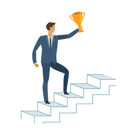 Man is climbing career ladder. Business concept. vector illustration isolated on white background 矢量图像