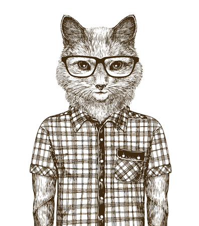 Cat dressed up. Hipster fashion concept.