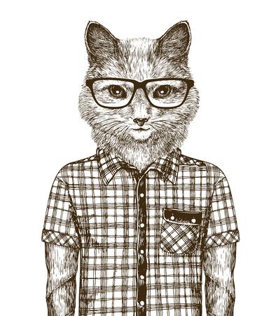 cat dressed up. hipster fashion concept. sketch vintage vector
