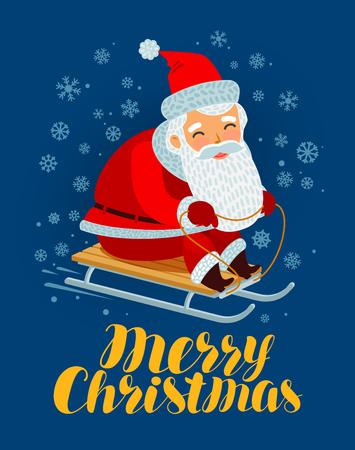 Merry Christmas greeting card. Santa Claus rides a sled. Reklamní fotografie