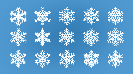 Set of different snowflakes. Winter, wintertime concept. Ilustrace