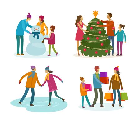 Set of people. Winter activity, Christmas concept.