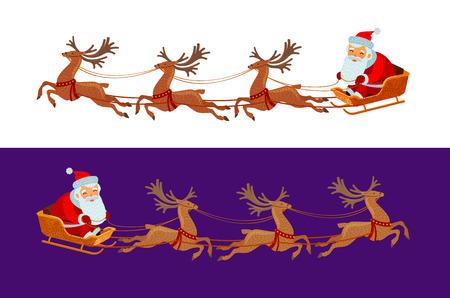 funny Santa Claus is riding in a sleigh. Christmas concept. cartoon vector Standard-Bild - 112203410