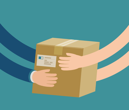 Courier hands parcel to customer. Delivery concept.