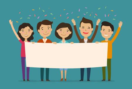 amis félicitent en vacances. félicitation, concept de félicitation. vecteur de dessin animé Vecteurs