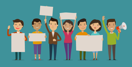group of people or crowd cheers carrying signs. event, Fan club, demonstration concept. cartoon vector