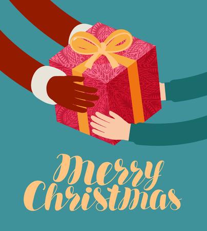 Christmas, greeting card. Santa Claus gives a gift.