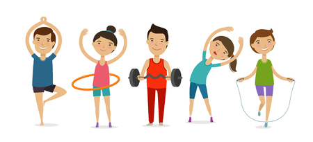 People involved in sports. Fitness, gym, healthy lifestyle concept. Cartoon vector