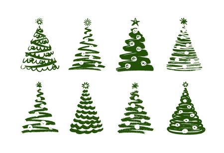Christmas tree, abstract symbol. New year, xmas set of icons.