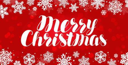 Merry Christmas, greeting card. Celebration, holiday banner.