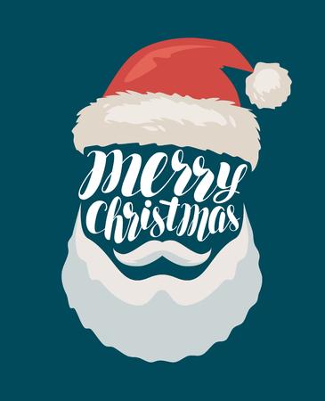 Merry Christmas, banner or greeting card. Santa Claus.