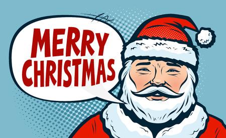Merry Christmas, banner. Happy Santa Claus. Pop art retro comic style. Reklamní fotografie