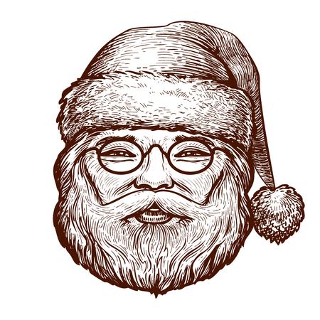 Portrait of happy Santa Claus, sketch. Christmas, greeting card.