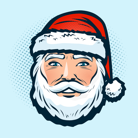 Santa Claus in the hat. Christmas or new year symbol. Pop art retro comic style.
