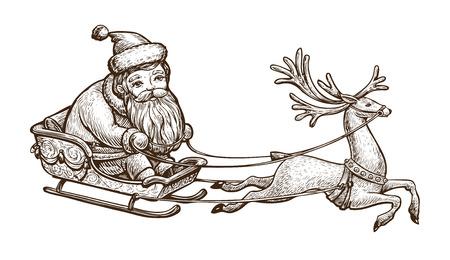 Santa Claus is riding in a sleigh. Reklamní fotografie