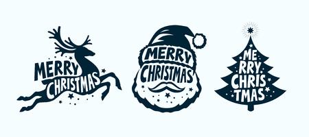 Merry Christmas, label set. Xmas symbol.