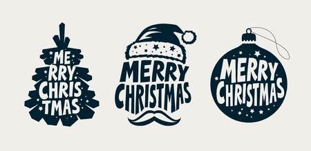 Merry Christmas, label set. Xmas, holiday symbol. Reklamní fotografie