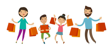 Happy family with packages or bags in their hands. Sale, shopping. Ilustrace