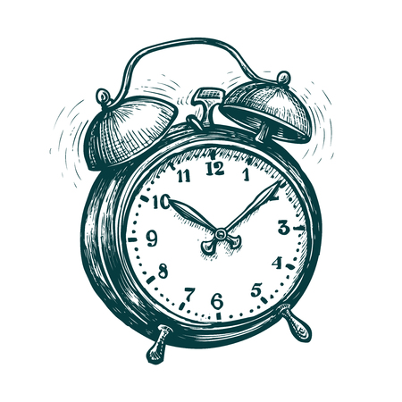 Alarm clock is ringing, wake-up call. Reminder, deadline concept. sketch vector Ilustração