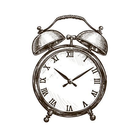 vintage alarm clock. time concept. sketch vector illustration isolated on white background
