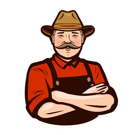Happy adult farmer in overalls. Ilustrace