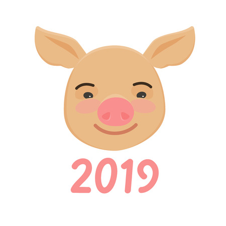 Happy Chinese New Year of pig. Cute funny piggy.