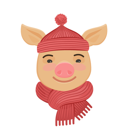 cute pig in a knitted hat and scarf. cartoon vector illustration