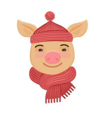 Little funny pig in a knitted hat and scarf. Reklamní fotografie