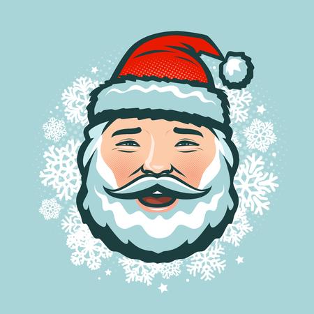 Laughing Santa Claus in hat.